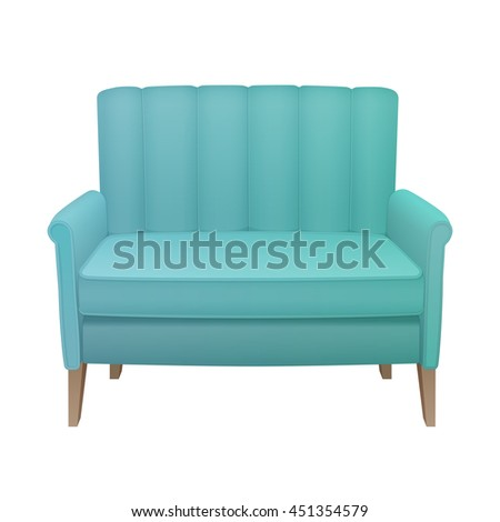 retro turquoise high back sofa with wooden tapered legs and integrated cushioning