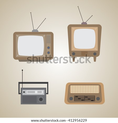 Retro TV and radio design - Vector illustration