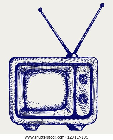 Retro TV. Doodle style - stock vector