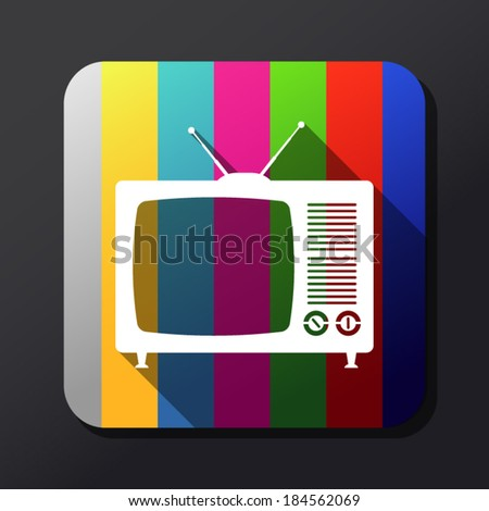 Retro TV flat icon - stock vector