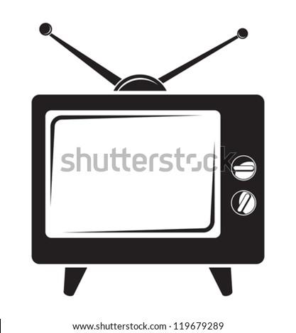 Retro tv icon - stock vector