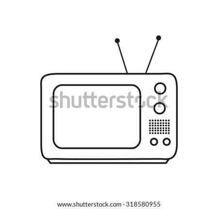 Retro TV icon in contour - vintage television - stock vector