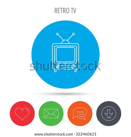 Retro tv icon. Television with antenna sign. Mail, download and speech bubble buttons. Like symbol. Vector - stock vector