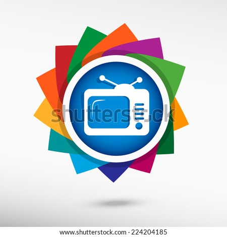 Retro TV  icon, vector illustration. Flat design style - stock vector