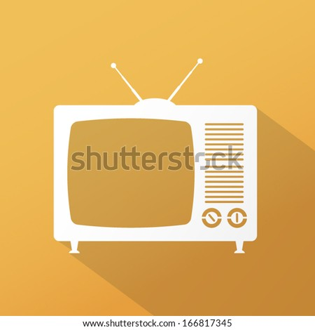 Retro TV icon with long shadow - stock vector