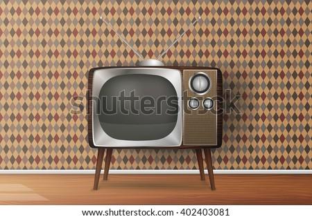 Retro TV in the wooden case, vector - stock vector