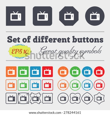 Retro TV mode  icon sign Big set of colorful, diverse, high-quality buttons. Vector illustration - stock vector