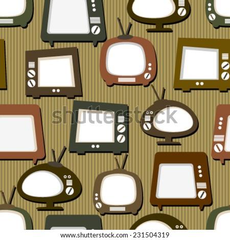 retro tv on stripes seamless pattern - stock vector