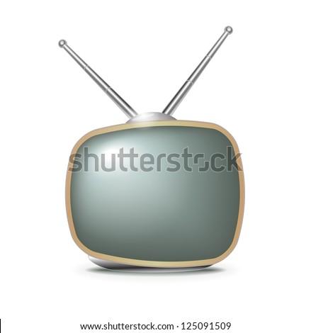 Retro TV set illustration on white - stock vector