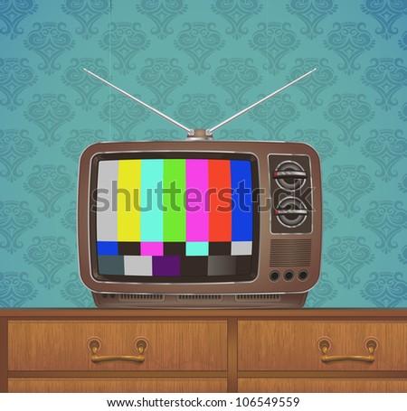retro tv-set in vintage room - stock vector