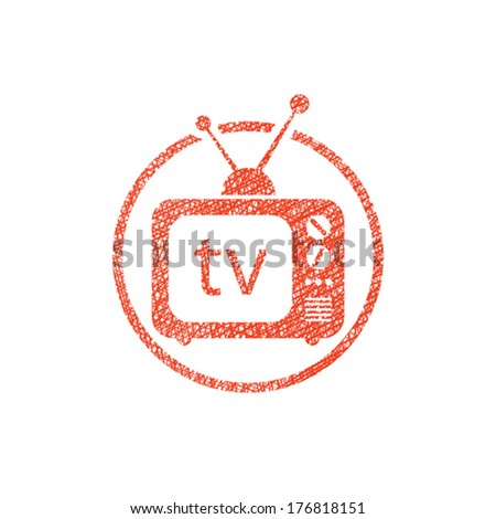 Retro tv set vector icon with hand drawn lines texture. - stock vector
