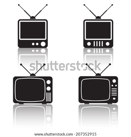 Retro TV set vector icons. A collection of web design elements. - stock vector