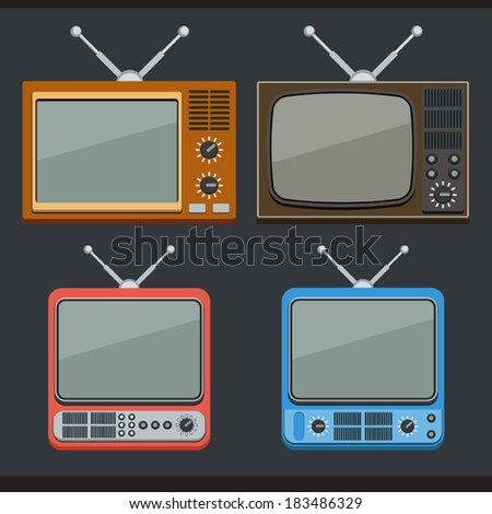 Retro TV sets flat icons - stock vector
