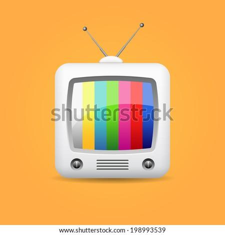 retro tv, vector icon - stock vector