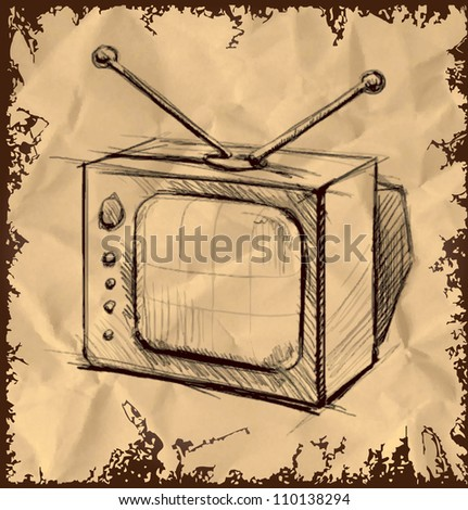 Retro tv with antenna isolated on vintage background. Hand drawing sketch vector illustration