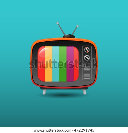 Retro TV with color frame - vector illustration