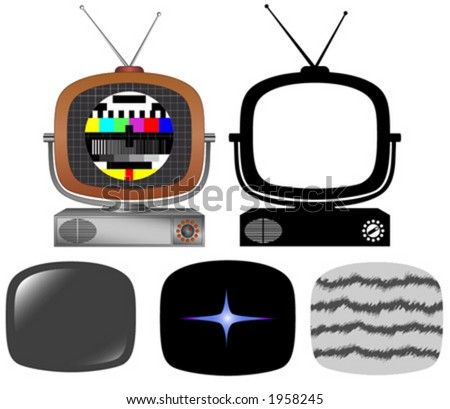 Retro tv with different screens and silhouette. - stock vector