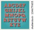 retro type font, vintage typography vector - stock