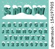 Retro type font with snow, Vector illustration.  - stock vector