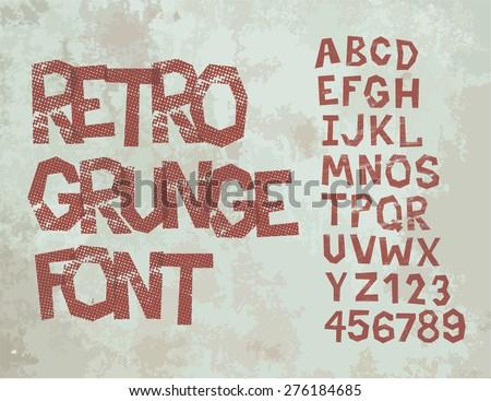 Retro type grunge font with alphabet, vintage typography - stock vector