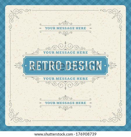 Retro typographic design elements. Template for design invitations, posters and other design.  - stock vector