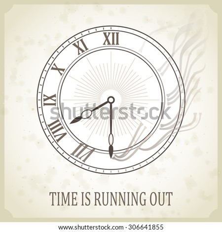 Vintage Clock Face Template Hour Minute Stock Vector
