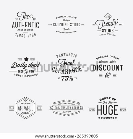 Retro Typography Vector Discount and Sale Labels or Logo Templates Isolated. Good for Ads, Posters, Flayers, etc. - stock vector