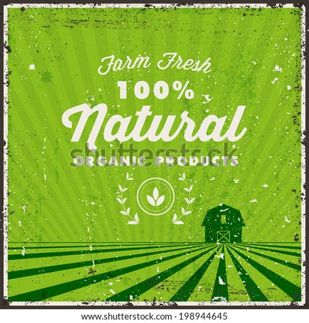 Retro Typography. Vintage metal sign. Farm Fresh Organic Label. Vector illustration. Grunge Texture in separated layer. - stock vector