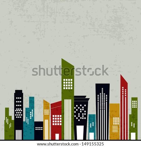 Retro urban city background.  - stock vector