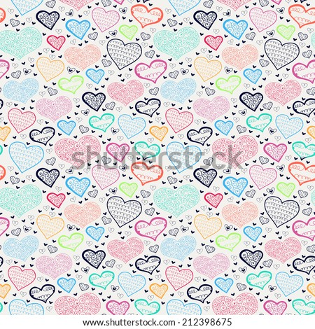 Retro valentine seamless pattern with hearts. Seamless pattern with hand drawn hearts. St Valentine's day background.  - stock vector