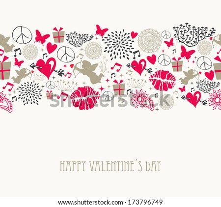 Retro Valentines elements, flat icons love seamless pattern background. EPS10 vector file organized in layers for easy editing. - stock vector