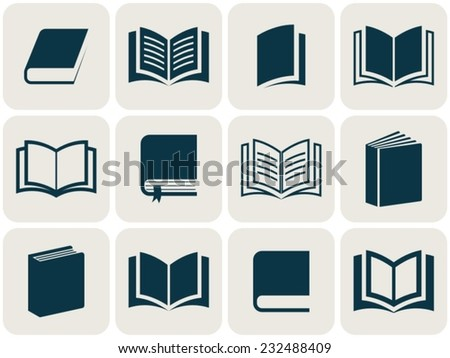 Retro vector book icons collection in squares - stock vector