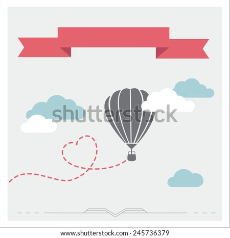 Retro vector card with aerostat flying in the clouds - stock vector