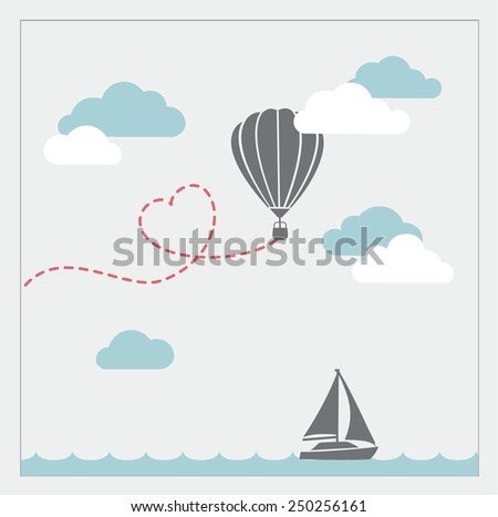Retro vector card with aerostat flying in the clouds and sailboat   - stock vector