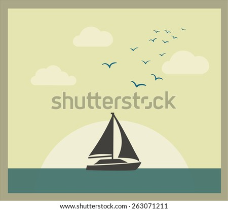 Retro vector card with sailboat against sunset. Holiday lifestyle landscape with sea skyline - stock vector