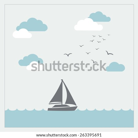Retro vector card with sailboat, birds and clouds - stock vector