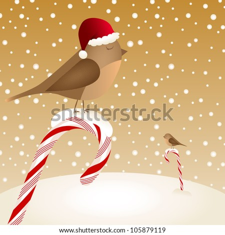 Retro vector Christmas card with birds sitting on candy canes in a snowy landscape - stock vector