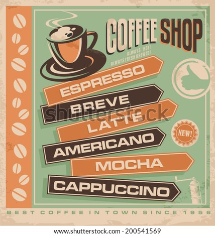 Retro vector design concept for coffee shop. Cafe bar vintage ad template. Best coffee in town promotional  concept for printing material or restaurant interior wall decoration. - stock vector