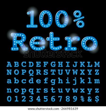Retro vector font with bulbs. - stock vector