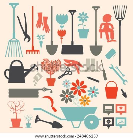 Retro Vector Gardening Icons Set - stock vector