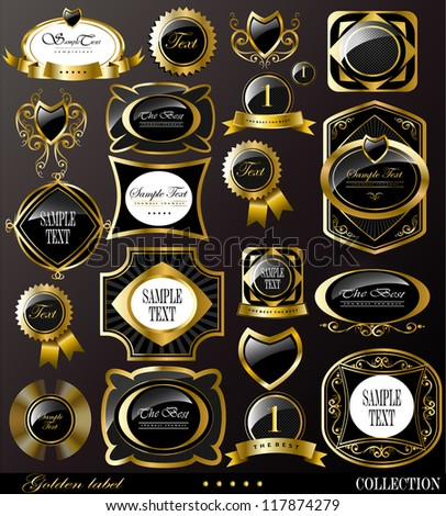 Retro vector golden label/can be used for invitation, congratulation or website layout vector - stock vector