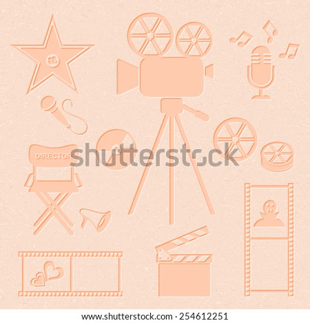 Retro vector movie and music icons collection