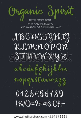 Retro vector 'Organic Spirit' brush script lettering font, handwritten calligraphic alphabet - stock vector
