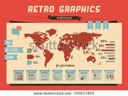 retro vector set of infographic elements for your documents and reports - stock vector