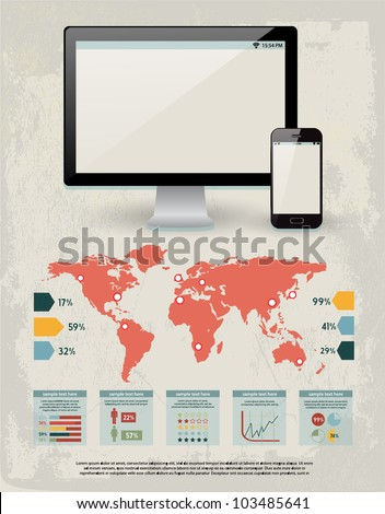 retro vector set of infographic elements for your documents and reports with glossy monitor screen and mobile phone device - stock vector