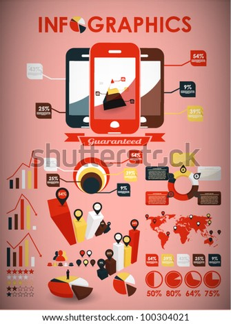 Retro vector set of infographic elements for your documents and reports with three touchscreen mobile phone devices - stock vector