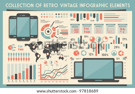 retro vector set of infographic elements for your documents and reports with touchscreen mobile phone and notebook devices - stock vector