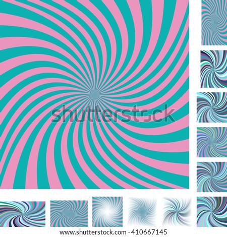 Retro vector spiral design background set. Different color, gradient, screen, paper size versions. - stock vector