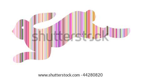 Retro vector strips rabbit - stock vector
