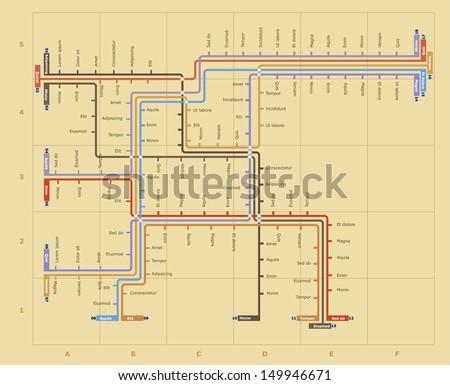 Retro vector subway map - stock vector